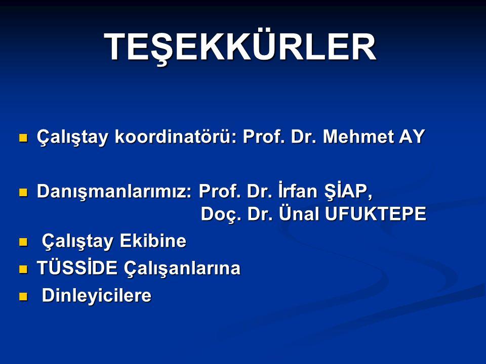 TEŞEKKÜRLER Çalıştay koordinatörü: Prof. Dr. Mehmet AY Çalıştay koordinatörü: Prof. Dr. Mehmet AY Danışmanlarımız: Prof. Dr. İrfan ŞİAP, Doç. Dr. Ünal