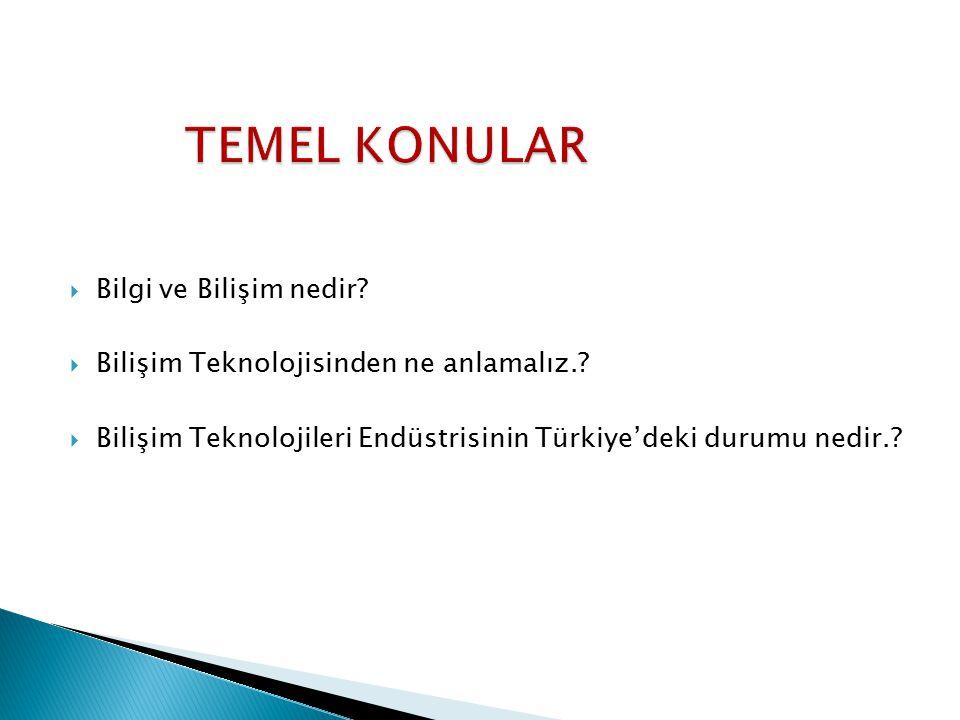  Bilgi ve Bilişim nedir?  Bilişim Teknolojisinden ne anlamalız.?  Bilişim Teknolojileri Endüstrisinin Türkiye'deki durumu nedir.?