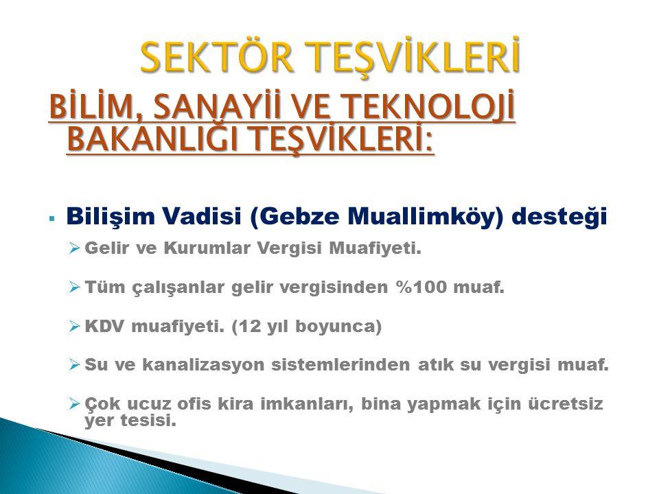 BİLİM, SANAYİİ VE TEKNOLOJİ BAKANLIĞI TEŞVİKLERİ:  Bilişim Vadisi (Gebze Muallimköy) desteği  Gelir ve Kurumlar Vergisi Muafiyeti.  Tüm çalışanlar