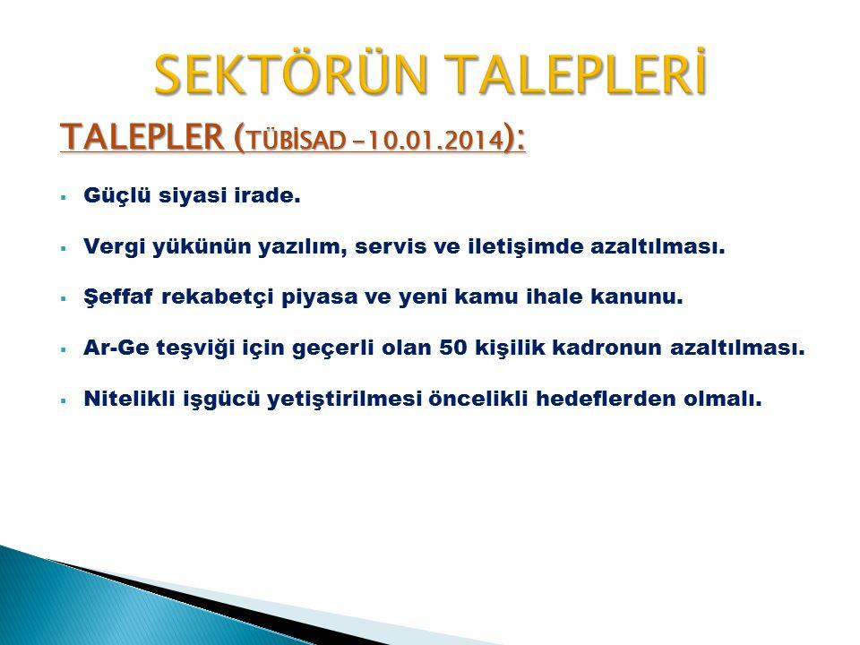 TALEPLER ( TÜBİSAD -10.01.2014 ):  Güçlü siyasi irade.  Vergi yükünün yazılım, servis ve iletişimde azaltılması.  Şeffaf rekabetçi piyasa ve yeni k