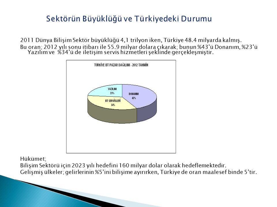 2011 Dünya Bilişim Sektör büyüklüğü 4,1 trilyon iken, Türkiye 48.4 milyarda kalmış. Bu oran; 2012 yılı sonu itibarı ile 55.9 milyar dolara çıkarak; bu