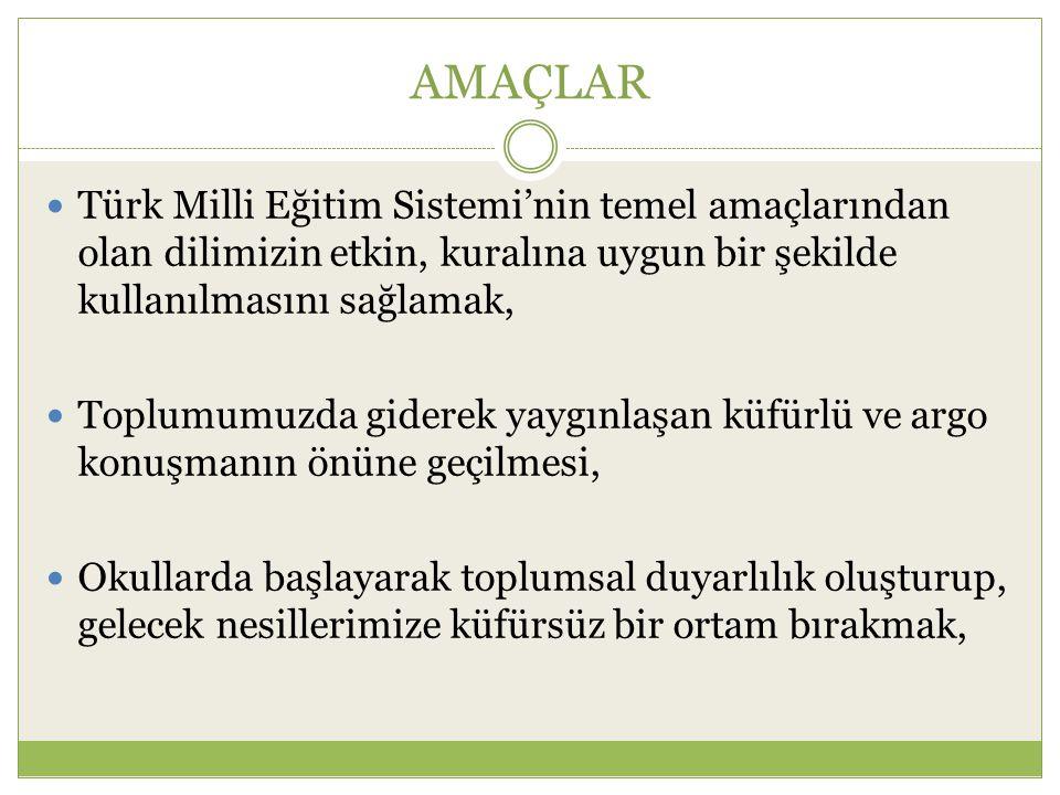 AMAÇLAR Türk Milli Eğitim Sistemi'nin temel amaçlarından olan dilimizin etkin, kuralına uygun bir şekilde kullanılmasını sağlamak, Toplumumuzda gidere