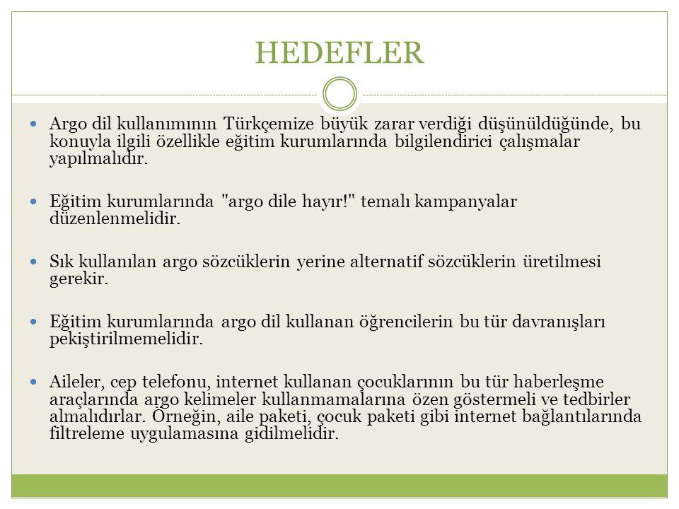 HEDEFLER Argo dil kullanımının Türkçemize büyük zarar verdiği düşünüldüğünde, bu konuyla ilgili özellikle eğitim kurumlarında bilgilendirici çalışmala