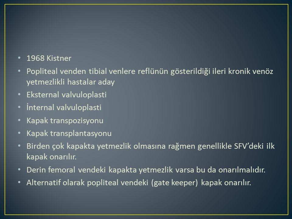 1968 Kistner Popliteal venden tibial venlere reflünün gösterildiği ileri kronik venöz yetmezlikli hastalar aday Eksternal valvuloplasti İnternal valvuloplasti Kapak transpozisyonu Kapak transplantasyonu Birden çok kapakta yetmezlik olmasına rağmen genellikle SFV'deki ilk kapak onarılır.