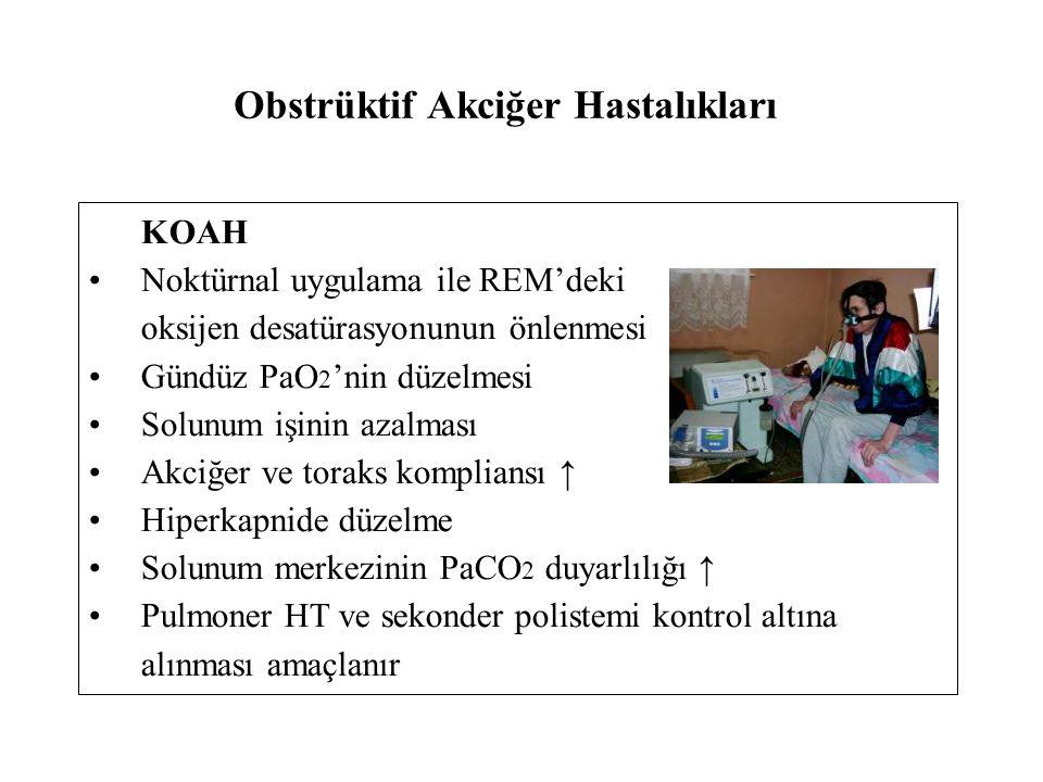 Obstrüktif Akciğer Hastalıkları KOAH Noktürnal uygulama ile REM'deki oksijen desatürasyonunun önlenmesi Gündüz PaO 2 'nin düzelmesi Solunum işinin azalması Akciğer ve toraks kompliansı ↑ Hiperkapnide düzelme Solunum merkezinin PaCO 2 duyarlılığı ↑ Pulmoner HT ve sekonder polistemi kontrol altına alınması amaçlanır