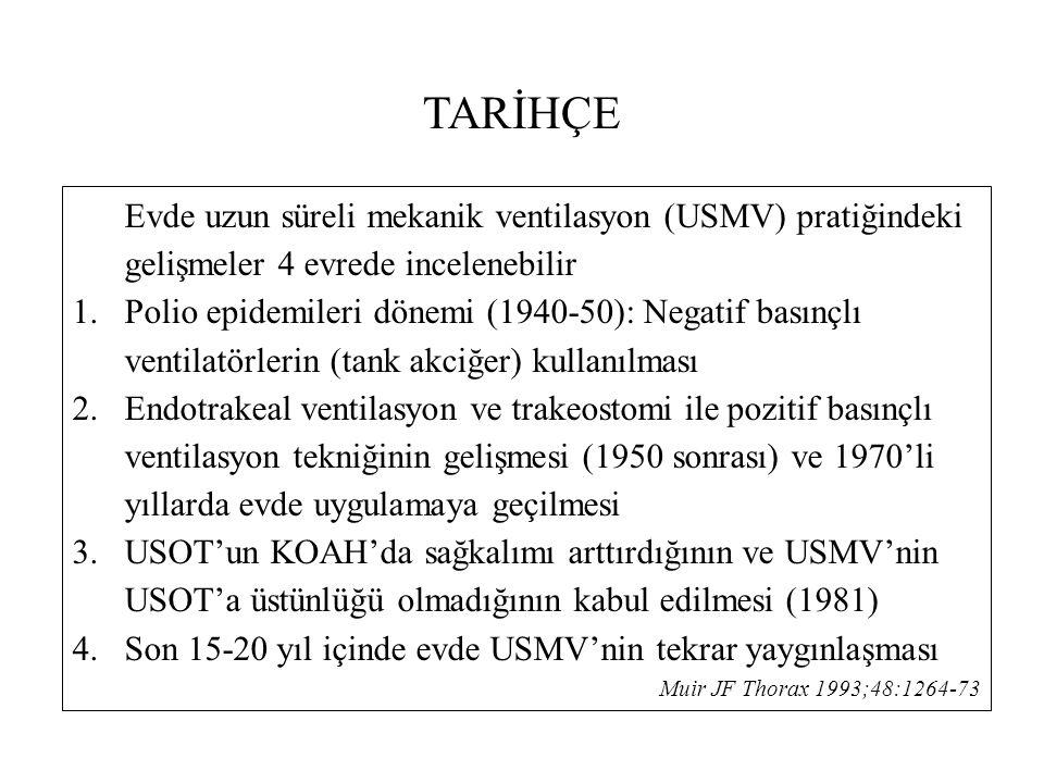 TARİHÇE Evde uzun süreli mekanik ventilasyon (USMV) pratiğindeki gelişmeler 4 evrede incelenebilir 1.Polio epidemileri dönemi (1940-50): Negatif basınçlı ventilatörlerin (tank akciğer) kullanılması 2.Endotrakeal ventilasyon ve trakeostomi ile pozitif basınçlı ventilasyon tekniğinin gelişmesi (1950 sonrası) ve 1970'li yıllarda evde uygulamaya geçilmesi 3.USOT'un KOAH'da sağkalımı arttırdığının ve USMV'nin USOT'a üstünlüğü olmadığının kabul edilmesi (1981) 4.Son 15-20 yıl içinde evde USMV'nin tekrar yaygınlaşması Muir JF Thorax 1993;48:1264-73