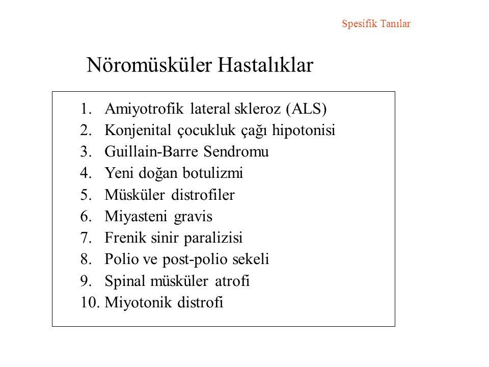 Nöromüsküler Hastalıklar Spesifik Tanılar 1.Amiyotrofik lateral skleroz (ALS) 2.Konjenital çocukluk çağı hipotonisi 3.Guillain-Barre Sendromu 4.Yeni doğan botulizmi 5.Müsküler distrofiler 6.Miyasteni gravis 7.Frenik sinir paralizisi 8.Polio ve post-polio sekeli 9.Spinal müsküler atrofi 10.Miyotonik distrofi