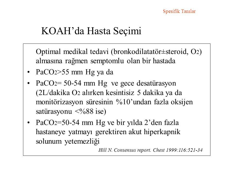 KOAH'da Hasta Seçimi Spesifik Tanılar Optimal medikal tedavi (bronkodilatatör±steroid, O 2 ) almasına rağmen semptomlu olan bir hastada PaCO 2 >55 mm Hg ya da PaCO 2 = 50-54 mm Hg ve gece desatürasyon (2L/dakika O 2 alırken kesintisiz 5 dakika ya da monitörizasyon süresinin %10'undan fazla oksijen satürasyonu <%88 ise) PaCO 2 =50-54 mm Hg ve bir yılda 2'den fazla hastaneye yatmayı gerektiren akut hiperkapnik solunum yetemezliği Hill N.