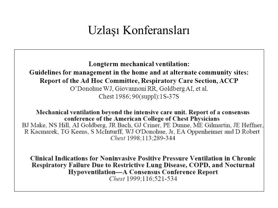 KOAH Kontrolsüz çalışmalarda bazal hiperkapni daha belirgin, NPPV ile PaCO 2 azalma ve yaşam kalitesinde düzelme bildirilmiş (Sivasothy P.