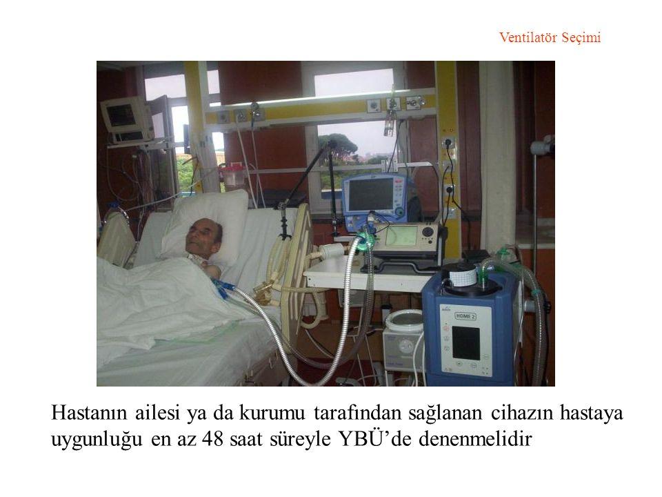 Ventilatör Seçimi Hastanın ailesi ya da kurumu tarafından sağlanan cihazın hastaya uygunluğu en az 48 saat süreyle YBÜ'de denenmelidir