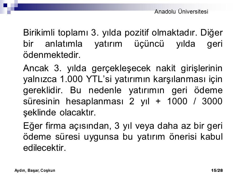 Anadolu Üniversitesi Aydın, Başar, Coşkun 15/28 Birikimli toplamı 3. yılda pozitif olmaktadır. Diğer bir anlatımla yatırım üçüncü yılda geri ödenmekte