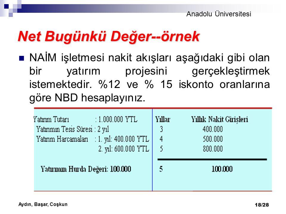 Anadolu Üniversitesi Aydın, Başar, Coşkun 19/28 Yıllık net nakit girişlerinin bugünkü değeri %12 iskonto oranı üzerinden 1.113.100 YTL, %15 iskonto oranı üzerinden ise 996.500 YTL sı bulunmuştur.