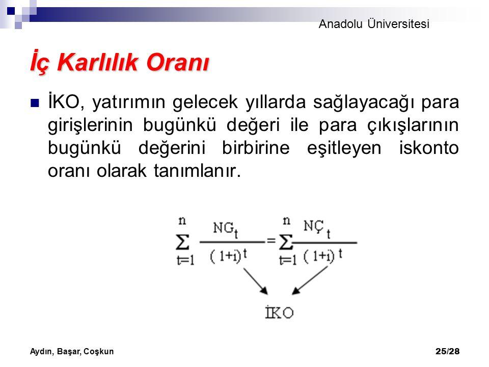 Anadolu Üniversitesi Aydın, Başar, Coşkun 25/28 İç Karlılık Oranı İKO, yatırımın gelecek yıllarda sağlayacağı para girişlerinin bugünkü değeri ile par