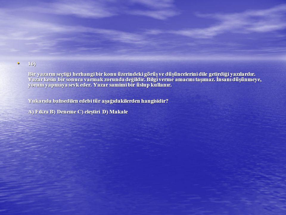 16) Bir yazarın seçtiği herhangi bir konu üzerindeki görüş ve düşüncelerini dile getirdiği yazılardır.