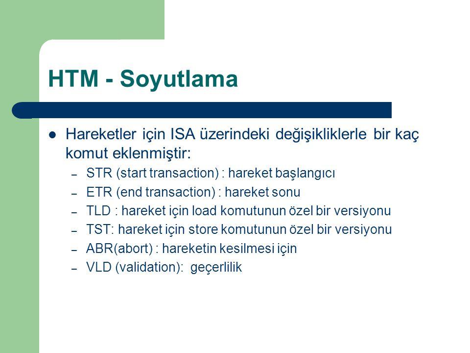 HTM - Soyutlama Hareketler için ISA üzerindeki değişikliklerle bir kaç komut eklenmiştir: – STR (start transaction) : hareket başlangıcı – ETR (end transaction) : hareket sonu – TLD : hareket için load komutunun özel bir versiyonu – TST: hareket için store komutunun özel bir versiyonu – ABR(abort) : hareketin kesilmesi için – VLD (validation): geçerlilik