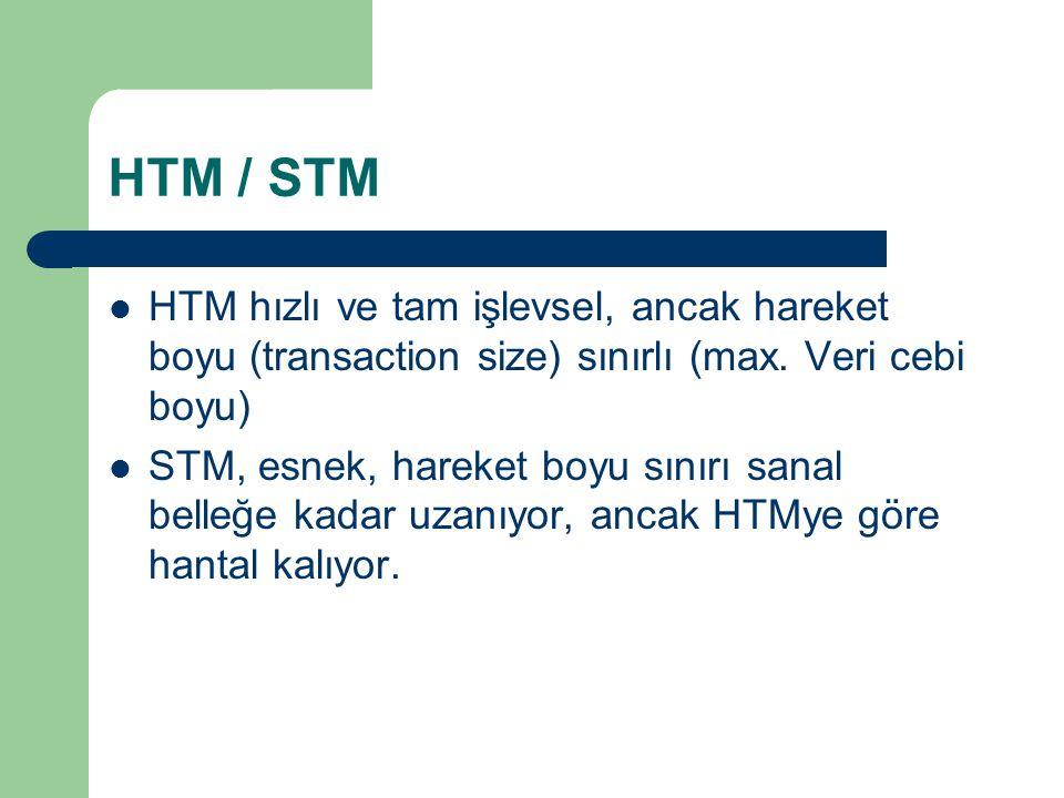 HTM / STM HTM hızlı ve tam işlevsel, ancak hareket boyu (transaction size) sınırlı (max.