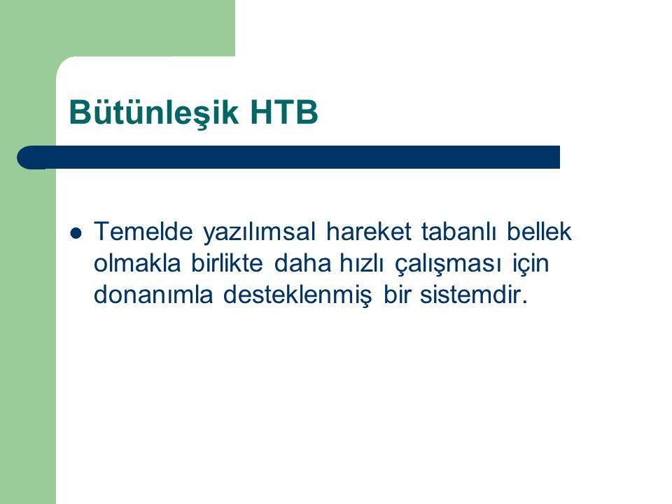 Bütünleşik HTB Temelde yazılımsal hareket tabanlı bellek olmakla birlikte daha hızlı çalışması için donanımla desteklenmiş bir sistemdir.