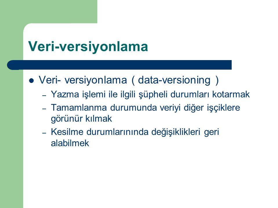 Veri-versiyonlama Veri- versiyonlama ( data-versioning ) – Yazma işlemi ile ilgili şüpheli durumları kotarmak – Tamamlanma durumunda veriyi diğer işçiklere görünür kılmak – Kesilme durumlarınında değişiklikleri geri alabilmek