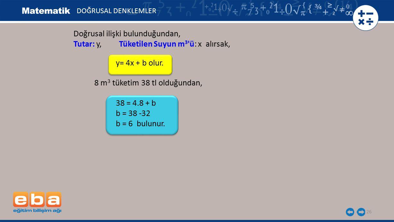 26 DOĞRUSAL DENKLEMLER Doğrusal ilişki bulunduğundan, Tutar: y, Tüketilen Suyun m 3 'ü: x alırsak, y= 4x + b olur. 8 m 3 tüketim 38 tl olduğundan, 38