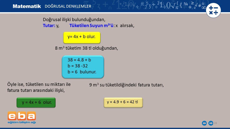 28 DOĞRUSAL DENKLEMLER Doğrusal ilişki bulunduğundan, Tutar: y, Tüketilen Suyun m 3 'ü: x alırsak, y= 4x + b olur. 8 m 3 tüketim 38 tl olduğundan, 38