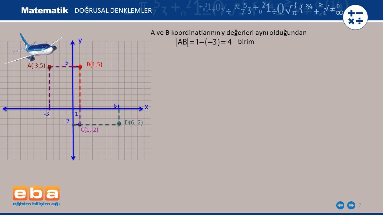7 DOĞRUSAL DENKLEMLER x y 1 -2 -3 5 C(1,-2) A(-3,5) B(1,5) D(6,-2) 6 A ve B koordinatlarının y değerleri aynı olduğundan birim