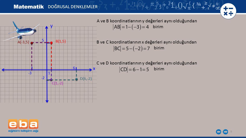 9 DOĞRUSAL DENKLEMLER x y 1 -2 -3 5 C(1,-2) A(-3,5) B(1,5) D(6,-2) 6 A ve B koordinatlarının y değerleri aynı olduğundan birim B ve C koordinatlarının