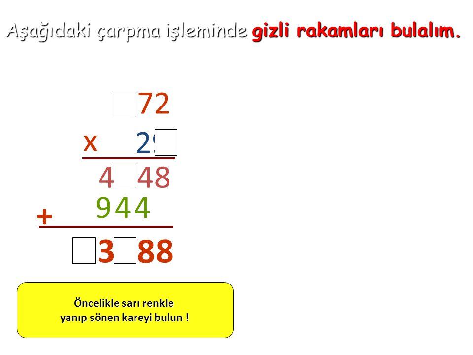 Aşağıdaki çarpma işleminde gizli rakamları bulalım. 472 29 x 8442 449 + 8 86 31 Öncelikle sarı renkle yanıp sönen kareyi bulun !