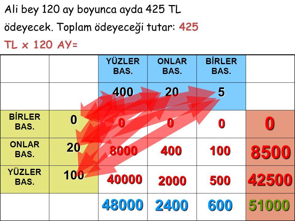 Az önce tablo üzerinde yaptığımız çarpma işlemini şu şekilde de izleyebiliriz… 425 TL x 120 AY =.