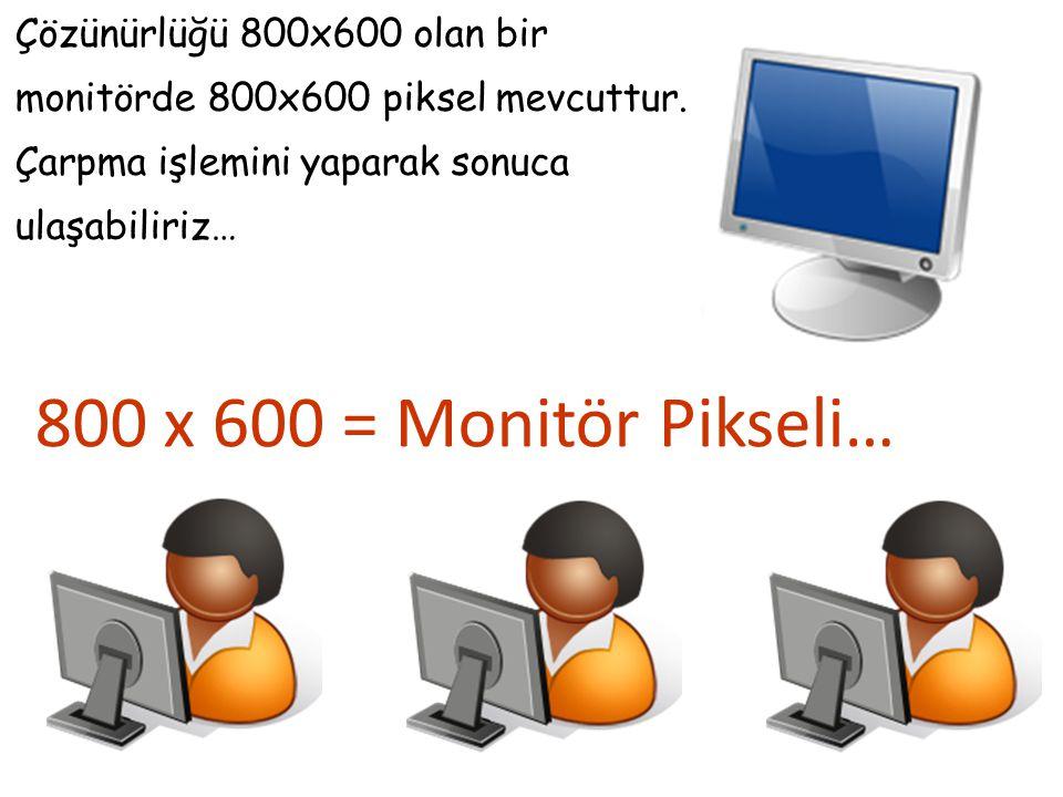 Çözünürlüğü 800x600 olan bir monitörde 800x600 piksel mevcuttur. Çarpma işlemini yaparak sonuca ulaşabiliriz… 800 x 600 = Monitör Pikseli…