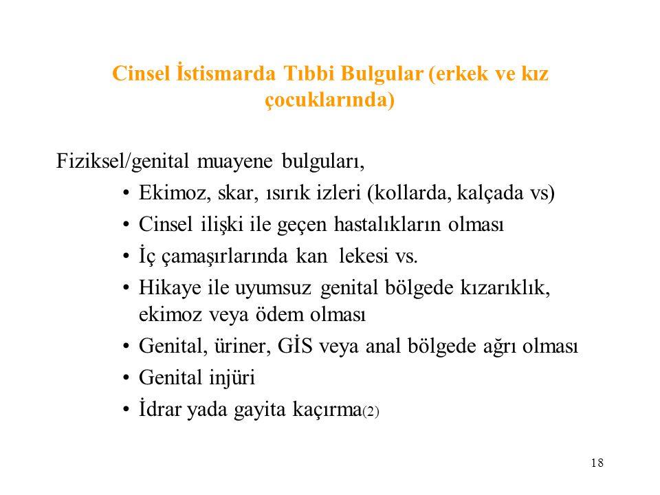 18 Cinsel İstismarda Tıbbi Bulgular (erkek ve kız çocuklarında) Fiziksel/genital muayene bulguları, Ekimoz, skar, ısırık izleri (kollarda, kalçada vs)