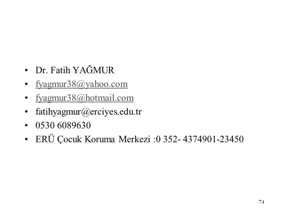 74 Dr. Fatih YAĞMUR fyagmur38@yahoo.com fyagmur38@hotmail.com fatihyagmur@erciyes.edu.tr 0530 6089630 ERÜ Çocuk Koruma Merkezi :0 352- 4374901-23450