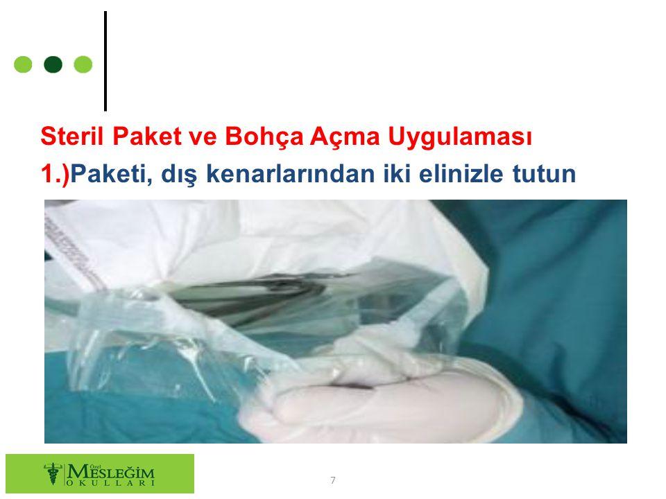 Steril Paket ve Bohça Açma Uygulaması 1.)Paketi, dış kenarlarından iki elinizle tutun 7