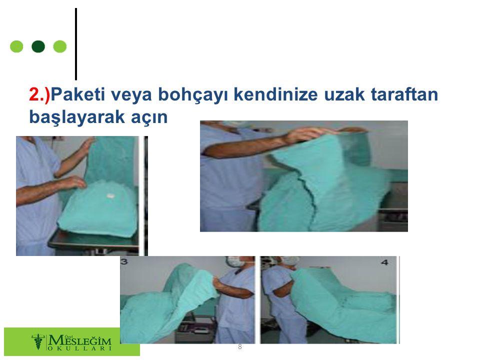 3.) Steril paket içindeki kimyasal indikatörü (yüksek ısıda renk değiştiren kimyasal özellikli gösterge) dikkatlice kontrol ediniz ve işlem sona erene kadar muhafaza ediniz.