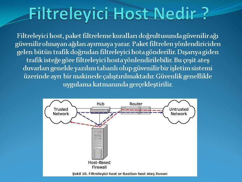 Filtreleyici host, paket filtreleme kuralları doğrultusunda güvenilir ağı güvenilir olmayan ağdan ayırmaya yarar. Paket filtrelen yönlendiriciden gele