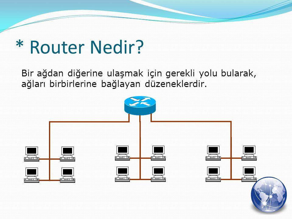 * Router Nedir? Bir ağdan diğerine ulaşmak için gerekli yolu bularak, ağları birbirlerine bağlayan düzeneklerdir.