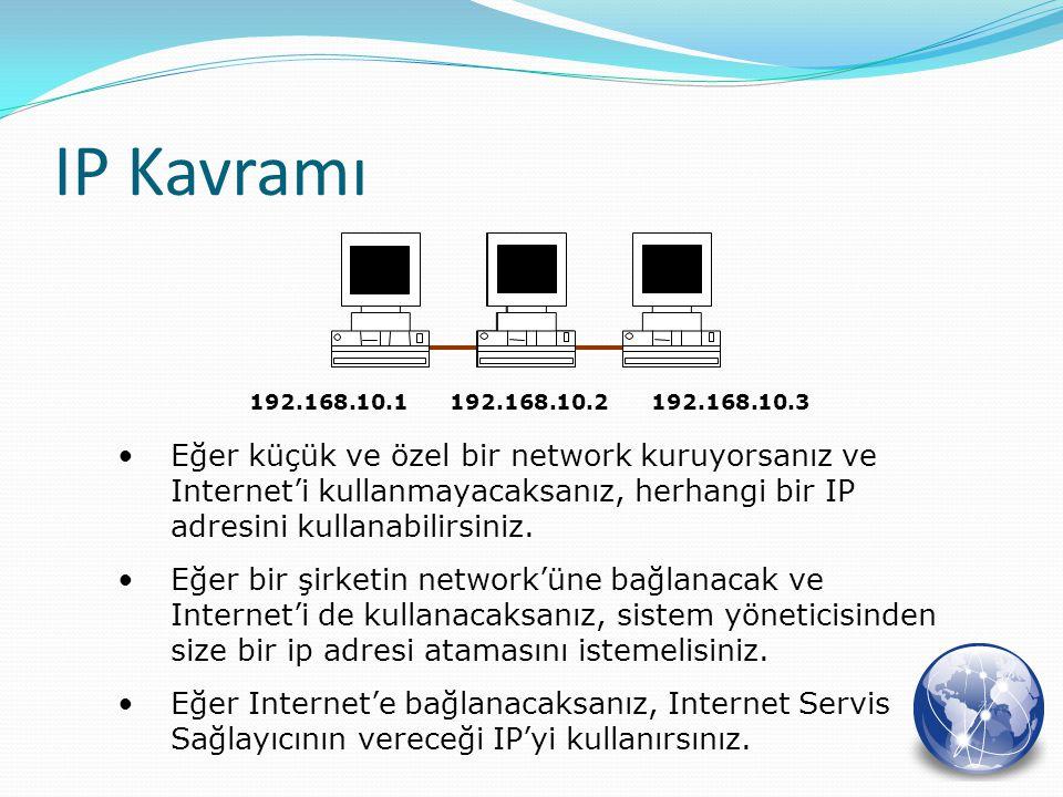 Eğer küçük ve özel bir network kuruyorsanız ve Internet'i kullanmayacaksanız, herhangi bir IP adresini kullanabilirsiniz. Eğer bir şirketin network'ün