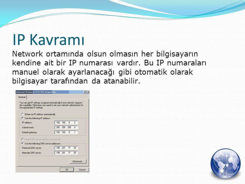 Network ortamında olsun olmasın her bilgisayarın kendine ait bir IP numarası vardır. Bu IP numaraları manuel olarak ayarlanacağı gibi otomatik olarak