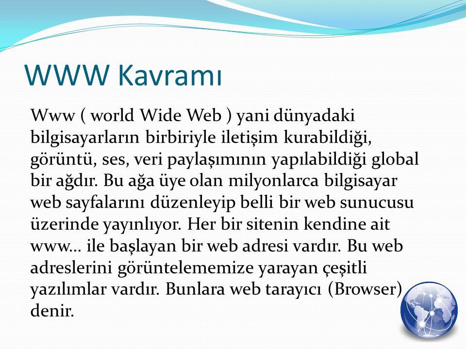 Www ( world Wide Web ) yani dünyadaki bilgisayarların birbiriyle iletişim kurabildiği, görüntü, ses, veri paylaşımının yapılabildiği global bir ağdır.
