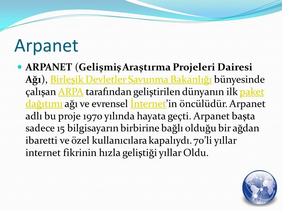 Arpanet ARPANET (Gelişmiş Araştırma Projeleri Dairesi Ağı), Birleşik Devletler Savunma Bakanlığı bünyesinde çalışan ARPA tarafından geliştirilen dünya