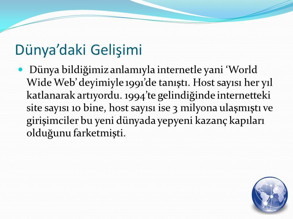 Dünya'daki Gelişimi Dünya bildiğimiz anlamıyla internetle yani 'World Wide Web' deyimiyle 1991'de tanıştı. Host sayısı her yıl katlanarak artıyordu. 1