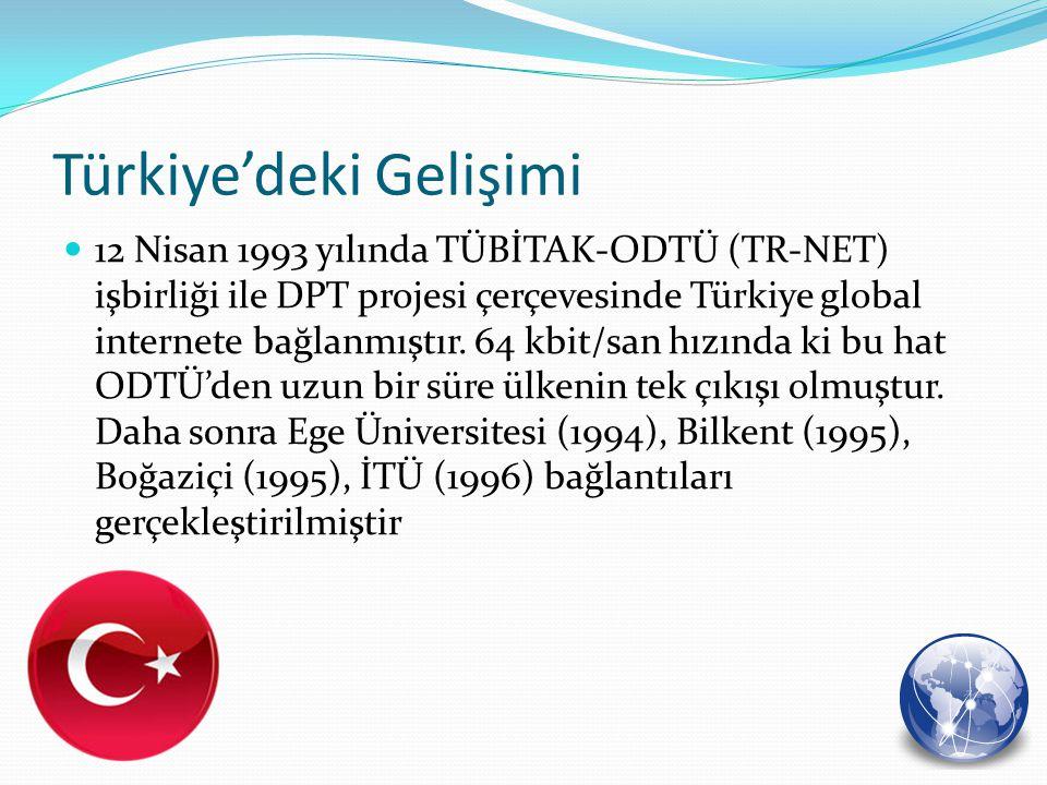 12 Nisan 1993 yılında TÜBİTAK-ODTÜ (TR-NET) işbirliği ile DPT projesi çerçevesinde Türkiye global internete bağlanmıştır. 64 kbit/san hızında ki bu ha