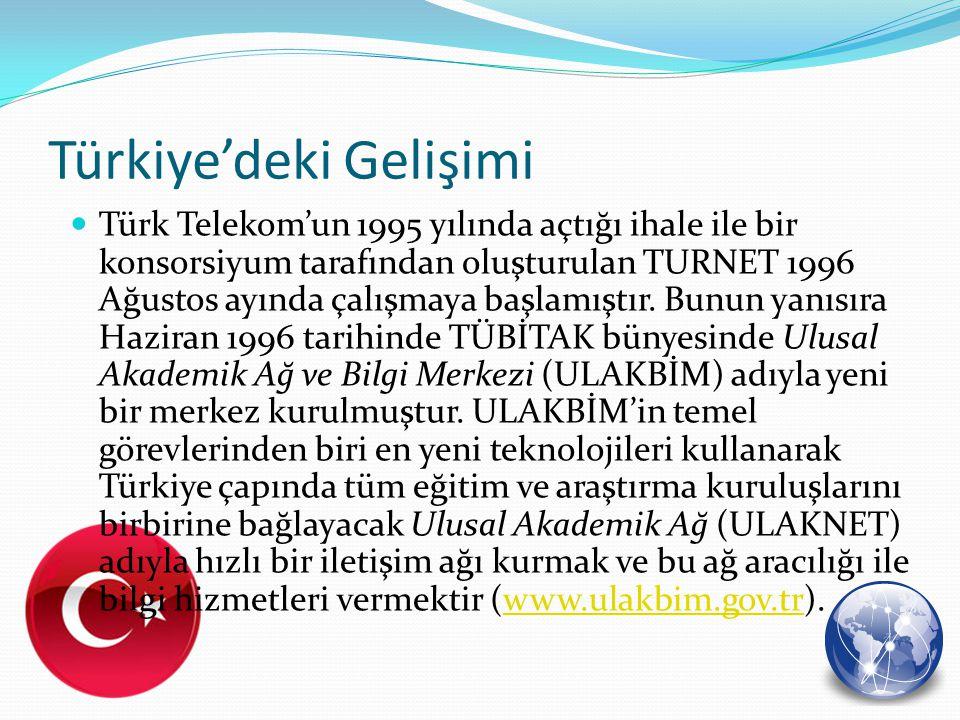 Türkiye'deki Gelişimi Şu anda Türkiye'nin internet çıkışını sağlayan merkezleri dört grupta toplayabiliriz.