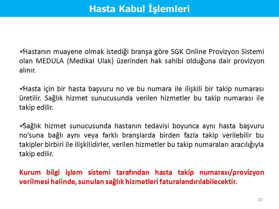 Hastanın muayene olmak istediği branşa göre SGK Online Provizyon Sistemi olan MEDULA (Medikal Ulak) üzerinden hak sahibi olduğuna dair provizyon alını