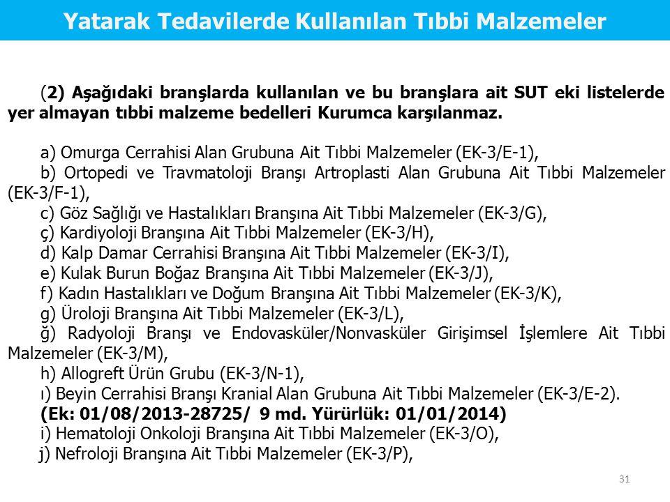 (2) Aşağıdaki branşlarda kullanılan ve bu branşlara ait SUT eki listelerde yer almayan tıbbi malzeme bedelleri Kurumca karşılanmaz. a) Omurga Cerrahis