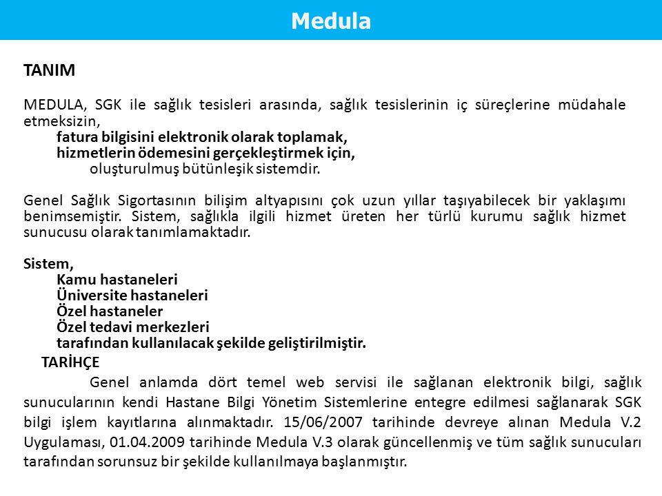 TANIM MEDULA, SGK ile sağlık tesisleri arasında, sağlık tesislerinin iç süreçlerine müdahale etmeksizin, fatura bilgisini elektronik olarak toplamak,