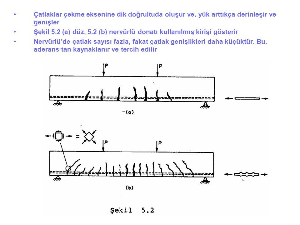 Çatlaklar çekme eksenine dik doğrultuda oluşur ve, yük arttıkça derinleşir ve genişler Şekil 5.2 (a) düz, 5.2 (b) nervürlü donatı kullanılmış kirişi g