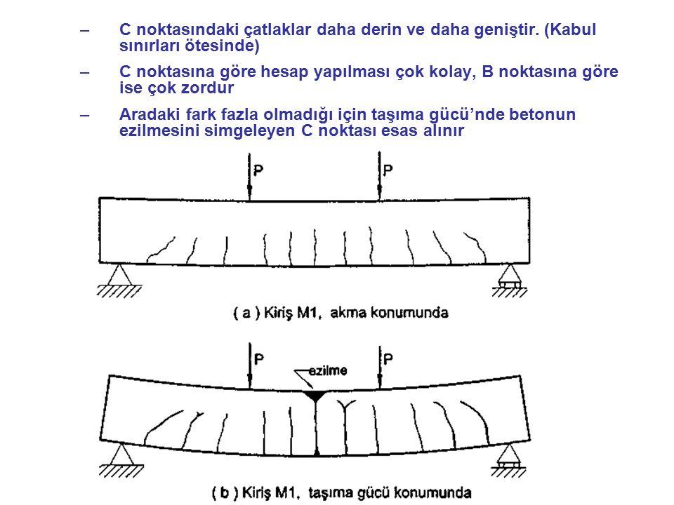 –C noktasındaki çatlaklar daha derin ve daha geniştir. (Kabul sınırları ötesinde) –C noktasına göre hesap yapılması çok kolay, B noktasına göre ise ço