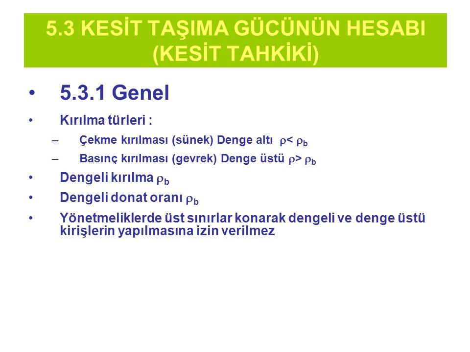 5.3 KESİT TAŞIMA GÜCÜNÜN HESABI (KESİT TAHKİKİ) 5.3.1 Genel Kırılma türleri : –Çekme kırılması (sünek) Denge altı  <  b –Basınç kırılması (gevrek) D