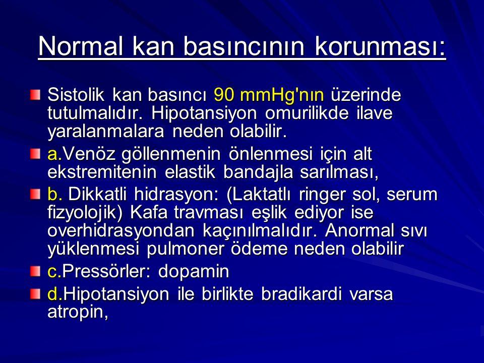 Normal kan basıncının korunması: Sistolik kan basıncı 90 mmHg'nın üzerinde tutulmalıdır. Hipotansiyon omurilikde ilave yaralanmalara neden olabilir. a