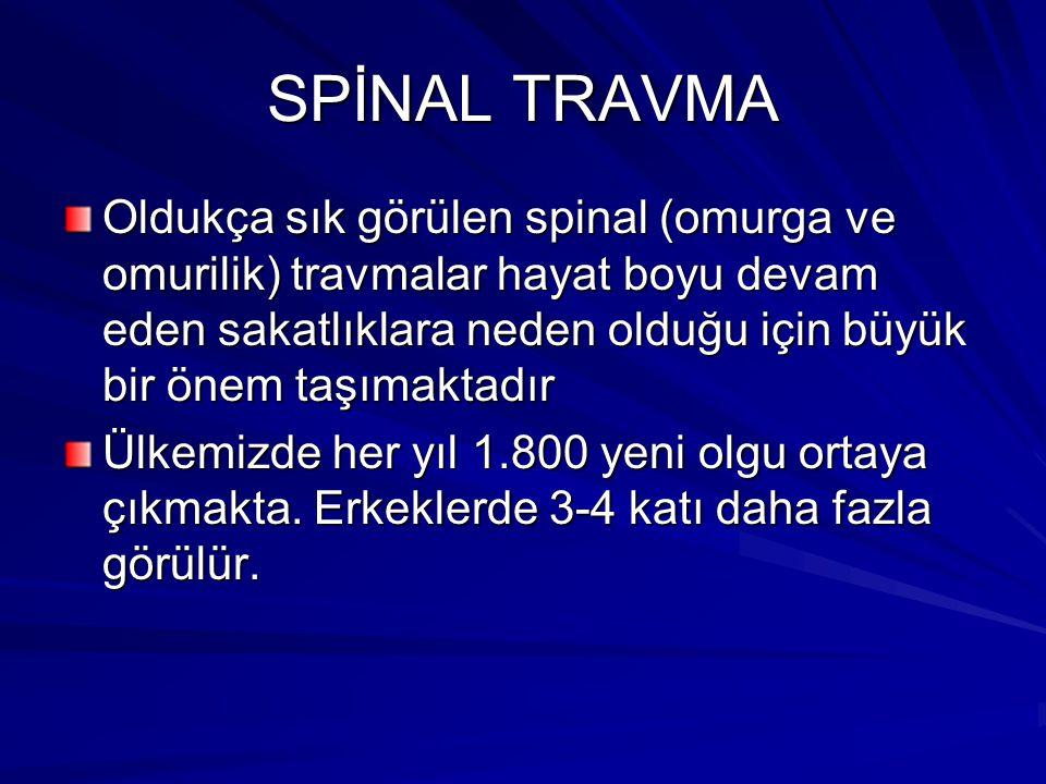 SPİNAL TRAVMA Oldukça sık görülen spinal (omurga ve omurilik) travmalar hayat boyu devam eden sakatlıklara neden olduğu için büyük bir önem taşımaktadır Ülkemizde her yıl 1.800 yeni olgu ortaya çıkmakta.